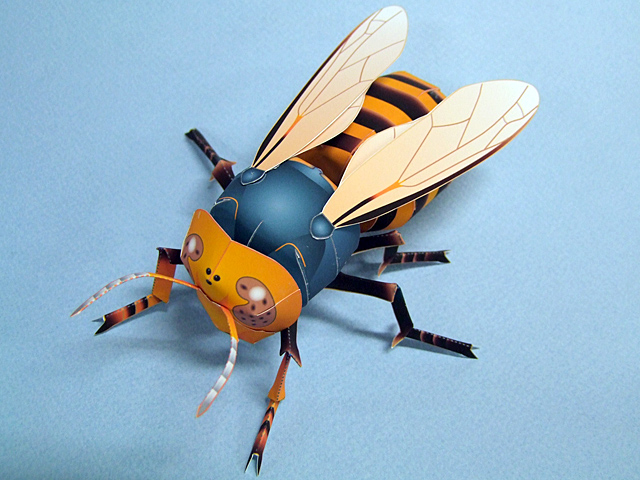Papercraft imprimible y armable de abeja / bee. Manualidades a Raudales.